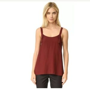 NWT Helmut Lang Red Tie Back Top Blouse Small